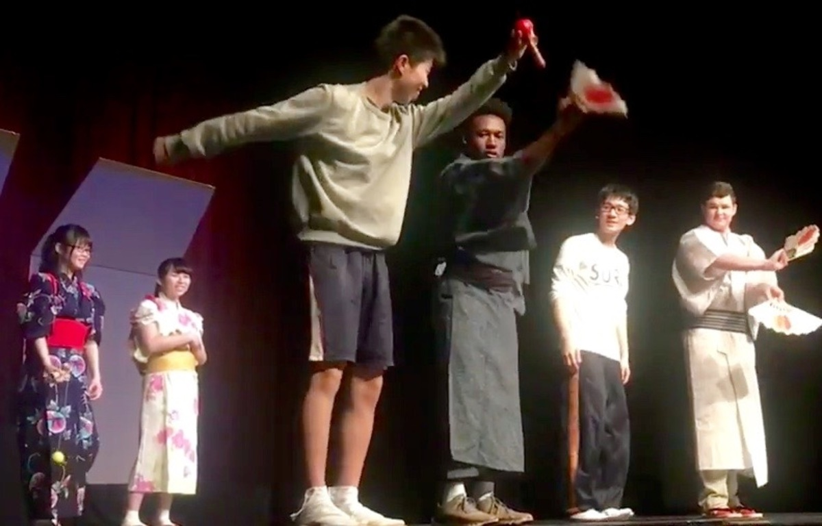 Japanese exchange students delight crowd at Tuesday assembly