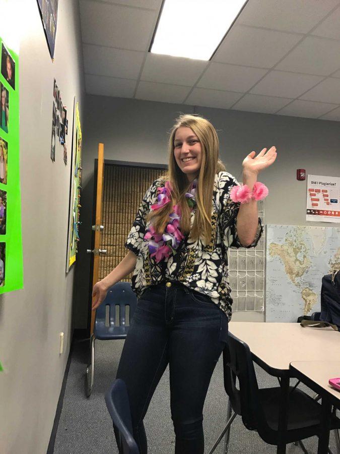 Freshman, Sophie Denisar, getting into the tropical spirt on Tropical Tuesday (Photo by Hannah Lovett)