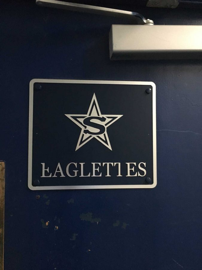 Stratford Star on a door leading into the girls basketball locker room (photo by Molly Garud)