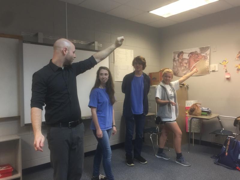 Mr. Wells leads an impromtu ballroom dancing class the day before Sadie Hawkins.