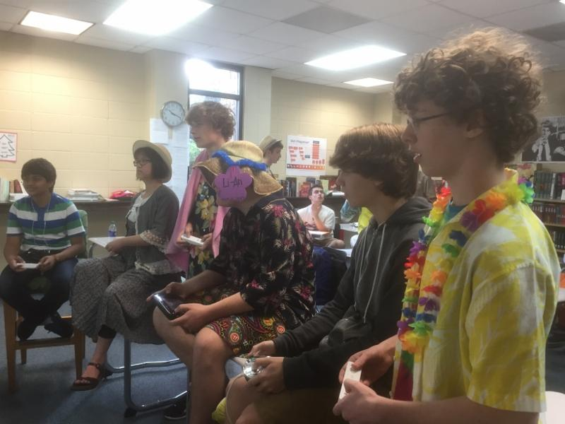 Stratford Gaming Club packs a Hawaiian Punch today while playing Super Smash Bros at break. (Photo by Kenzie Muenzer)