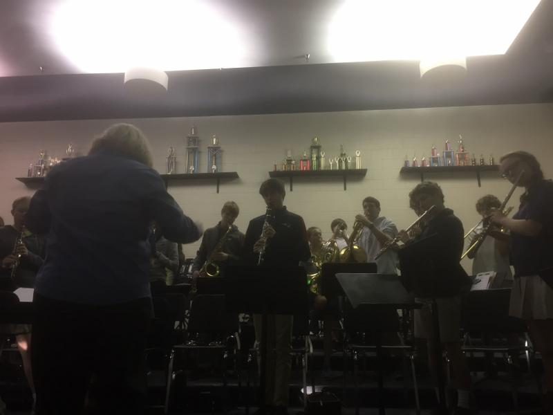 The Stratford Symphonic Band practices in the early morning hours.