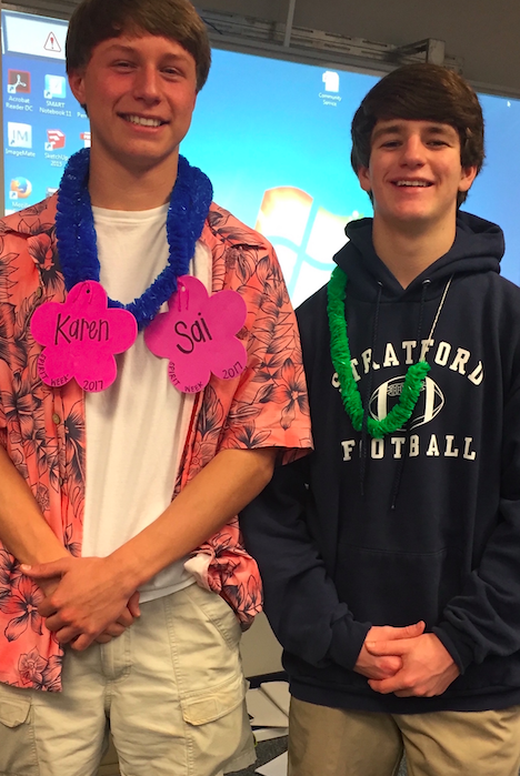 Sophomores Jonathan Siegel (left), and Sam Clark (right) pose for a picture in their Hawaiian outfits. (pic by Anna Parel)