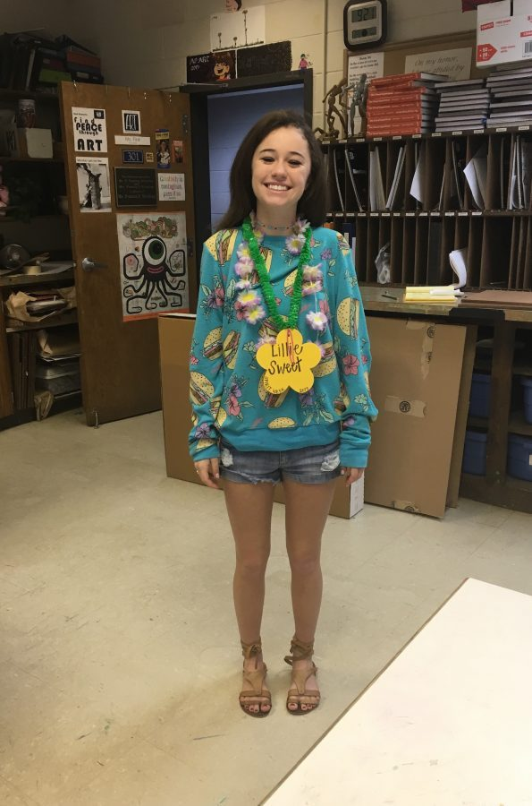 Lillie Sweet Strickland dressed in a tropical shirt. (Photo by Arya Datta)