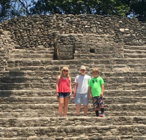Eighth-grader AJ Stevenson, middle, is pictured with his sister, Marta, and brother Kjell, on a trip to Belize last year. AJ will represent Stratford in the state geography bee on March 31.