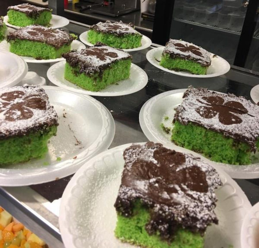 The+cafeteria+served+green+cake+with+four-leaf+clover+icing+on+Friday+in+observance+of+St.+Patrick%27s+Day.+
