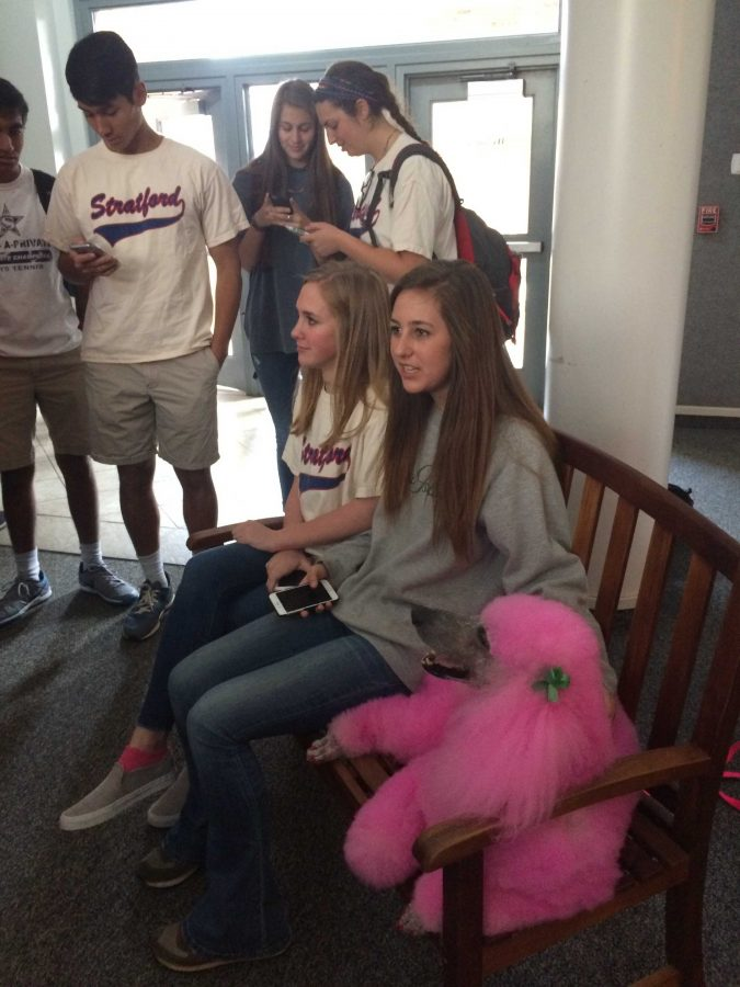 Freshmen Elizabeth Sellers and Taylor Swan sit with a very content Blossom as they get their photo taken