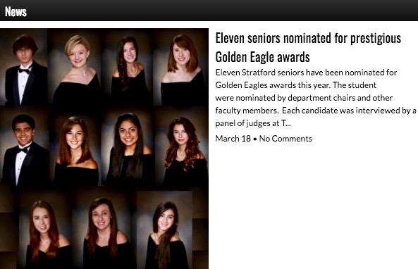 Eleven seniors nominated for prestigious Golden Eagle awards