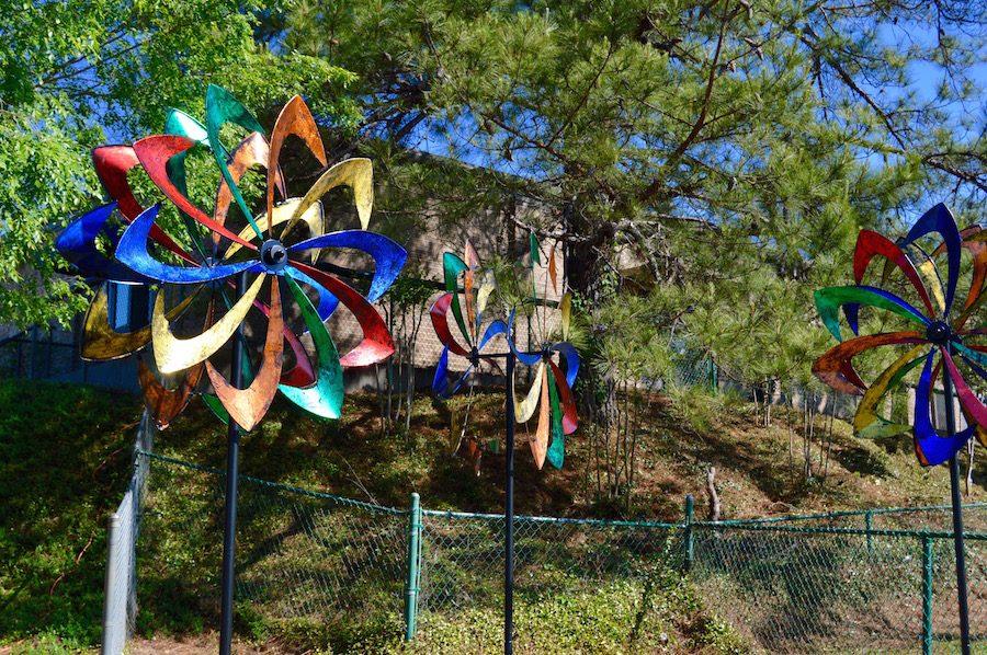 Windmills are located below the preschool playground