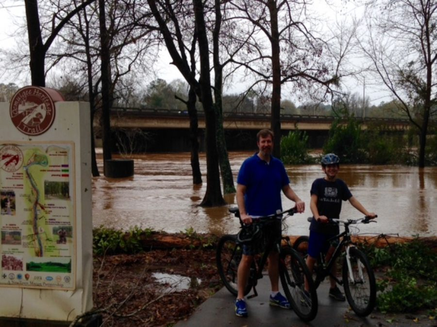 Freshman+Charles+Upshaw+and+his+father%2C+Dr.+James+Upshaw%2C+bike+on+the+Ocmulgee+River+Trail.