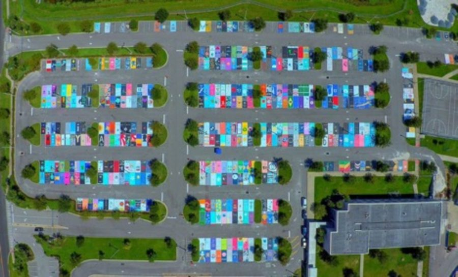 West+Orange+High+School+in+Winter+Garden%2C+Fla.%2C+has+a+tradition+of+having+seniors+paint+their+parking+spaces.