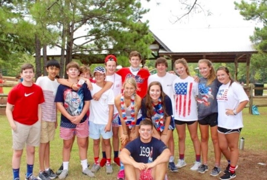 Mrs. Lindsey Belle's home room poses for a picture at the retreat on Friday.