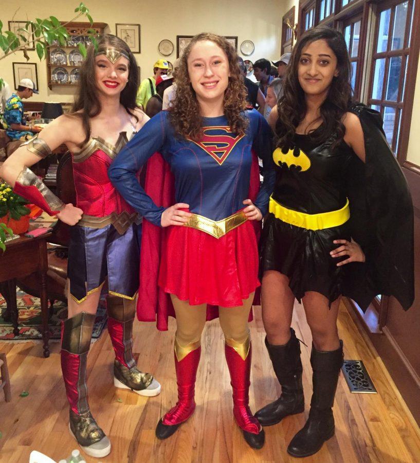 Murray McCormack, Carolynn Dromsky and Manasa Vemuri as super heroes