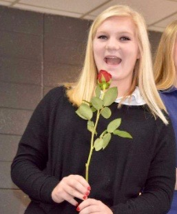 Marta Stevenson is shown at last year's Valentine's Sweethearts ceremony in the cafeteria