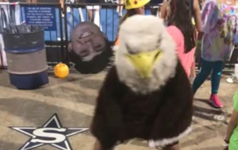 Eagle mascot always in a 'Rush'