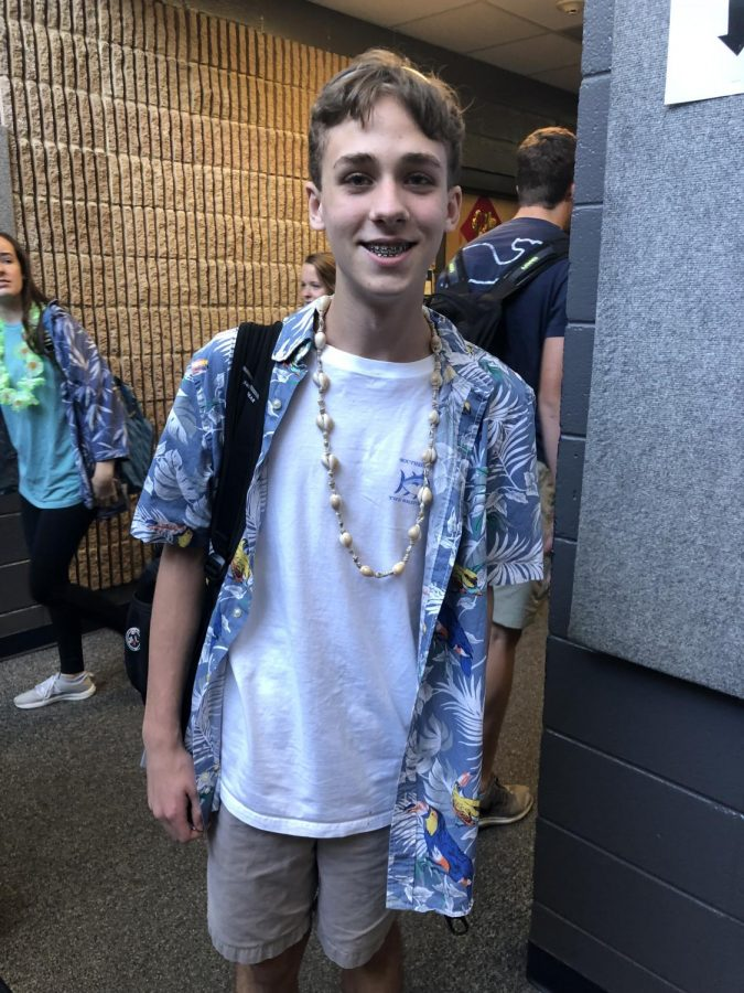 Shaw+London%2C+sophomore%2C+dressed+up+in+a+Hawiian+shirt+for+Moana+Monday.
