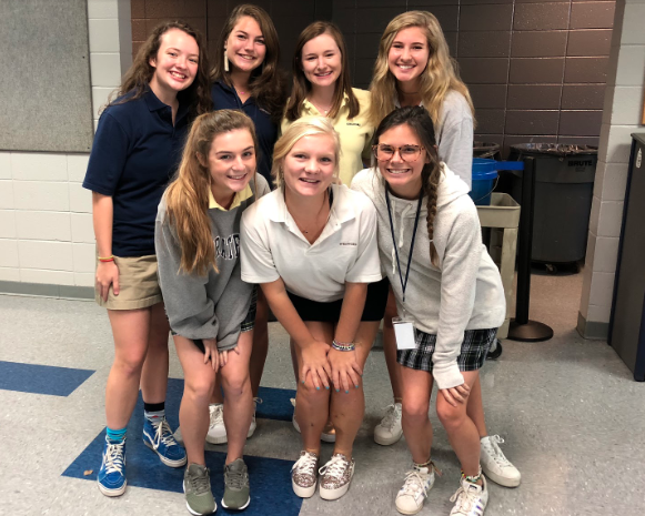 (L-R) Gracie Bell, Hadley Neal, Holland Schell, Emory Sutherland, Autumn Land, Marta Stevenson, Maimee Henderson. (Not pictured) Drake Miscall
