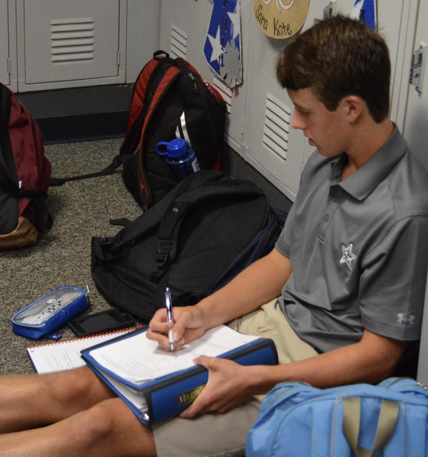 Junior Carter Eddlemon takes a study break