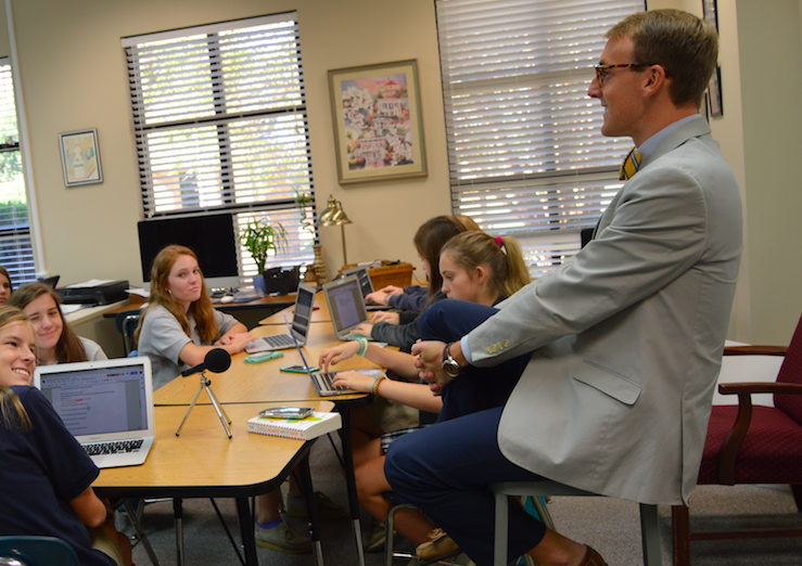 Middle school principal, Logan Bowlds, is amused by the third period journalism questions.