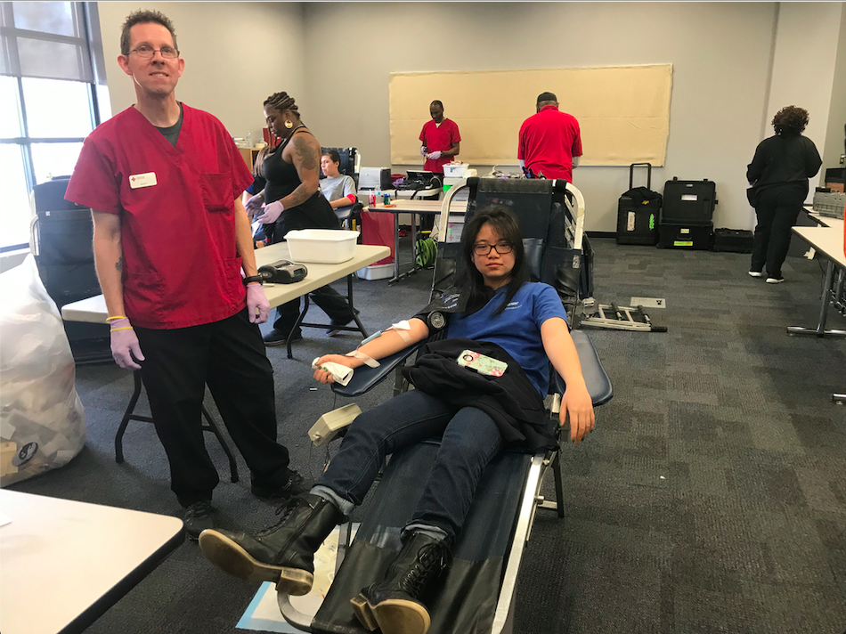 Stratford senior, Li- An Tsai, donates blood on Friday, February 1st.