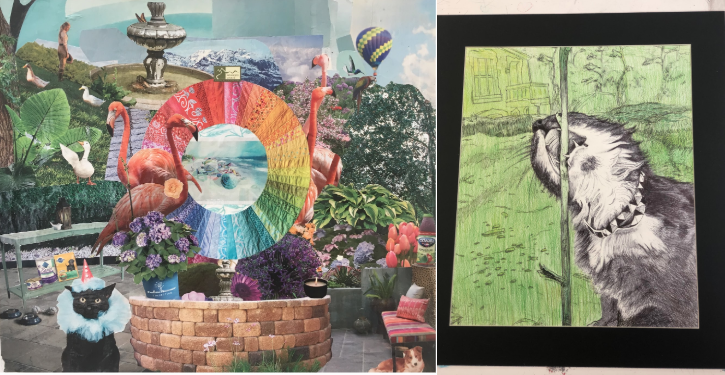 The work of Stratford art students Annie Putzke, left, and Jocelyn Tang