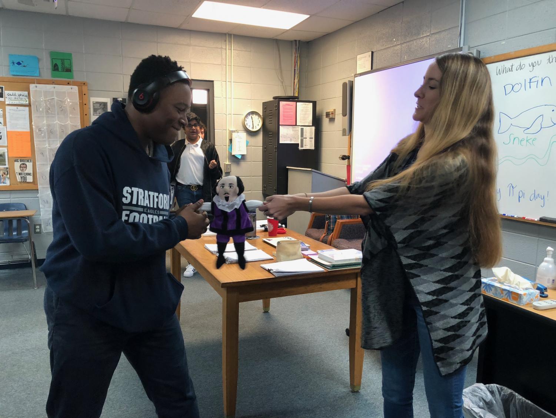 Freshman Tyler Brown and English teacher Ms. Rachel Newman