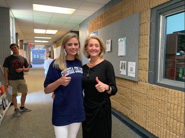 Senior Caroline Horn with Upper School Principal Mrs. Margaret Brogdon