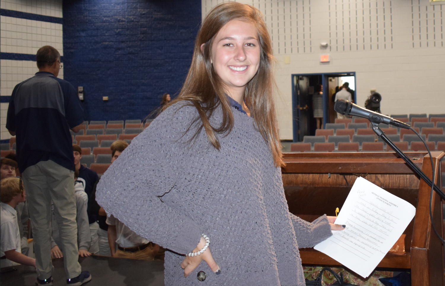 Elizabeth Sellers conducted her first Upper School assembly on Monday