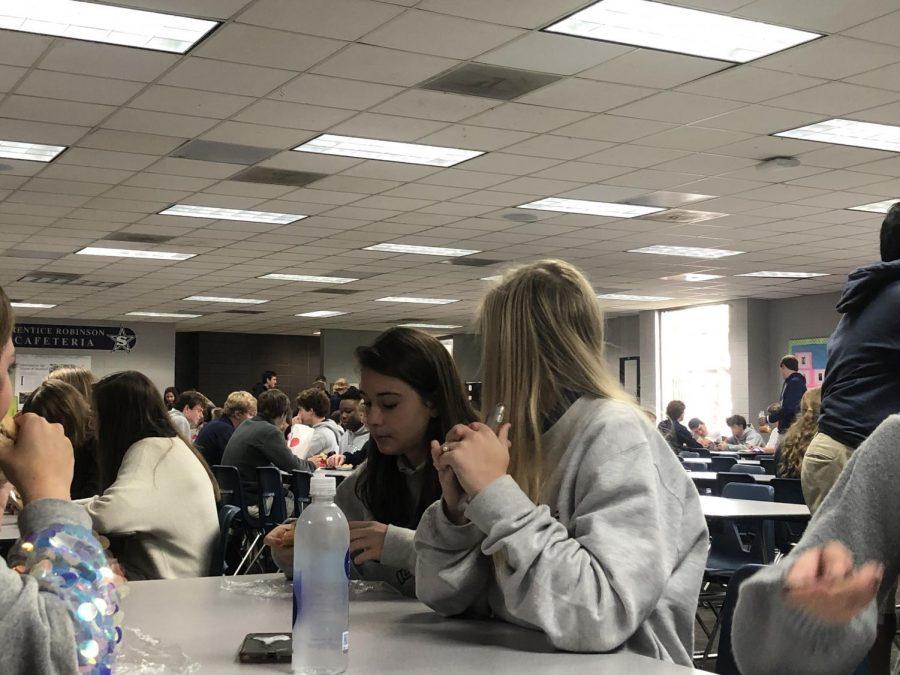 Peyton Lovett and Anna Thompson enjoying break