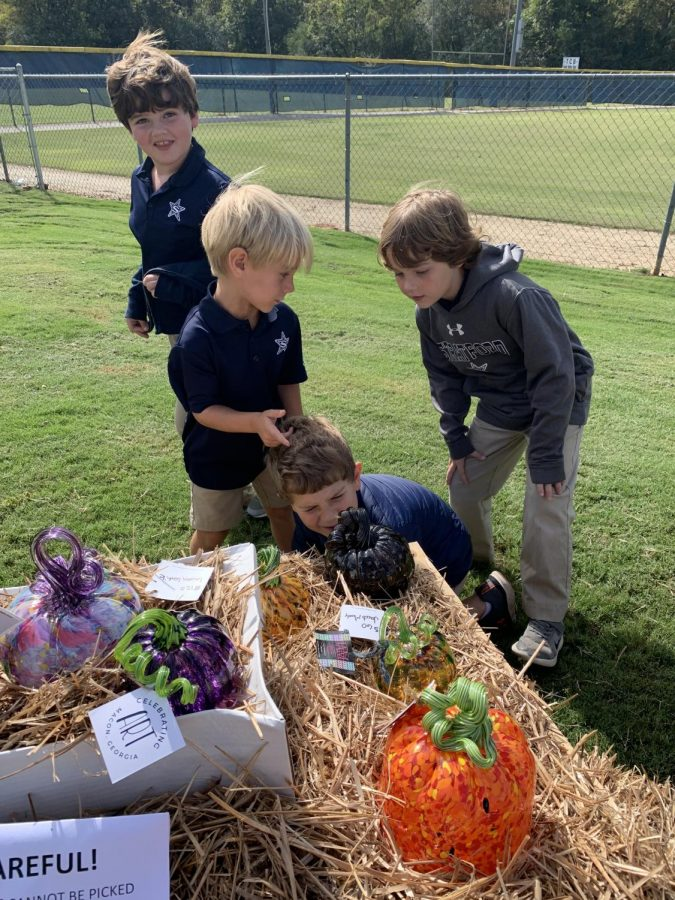 Lower School students enjoy the glass pumpkin patch!