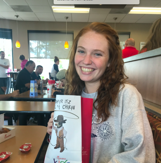 Sophomore Anna Mincey gets her Chick-fil-A fix
