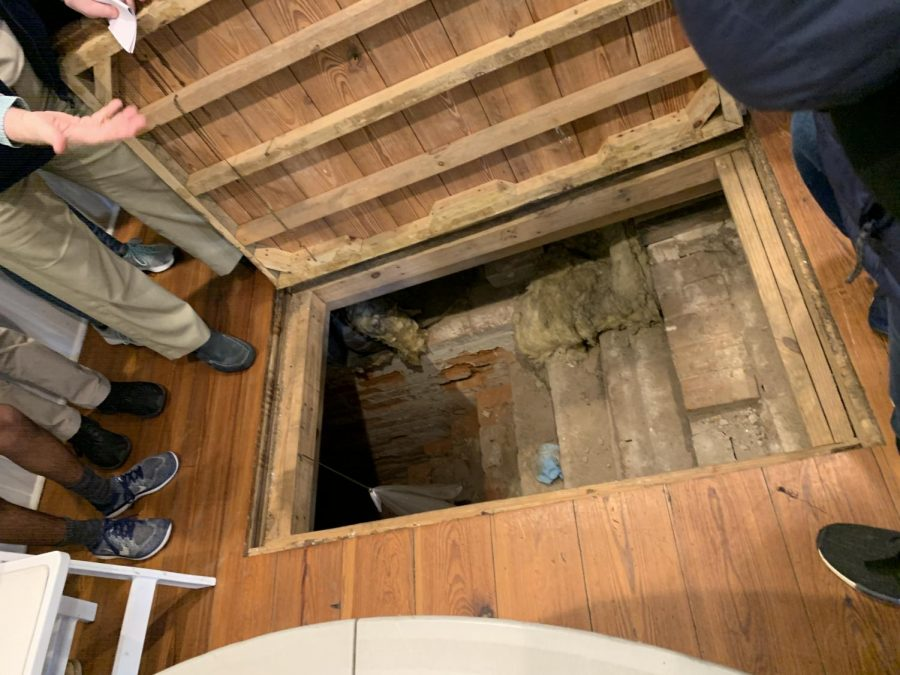 Secret door inside the house that leads to a large underground room