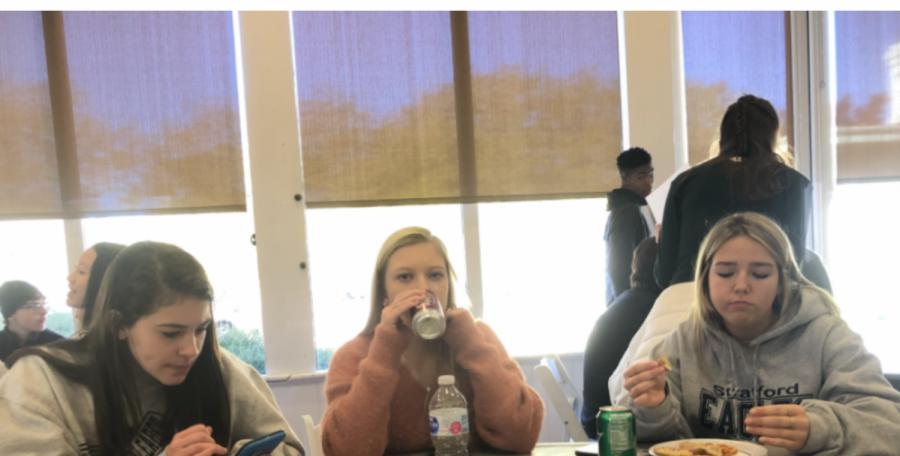 Peyton Lovett, Anna Thompson, Ann Marie Sikes eating lunch after the Freshman Retreat