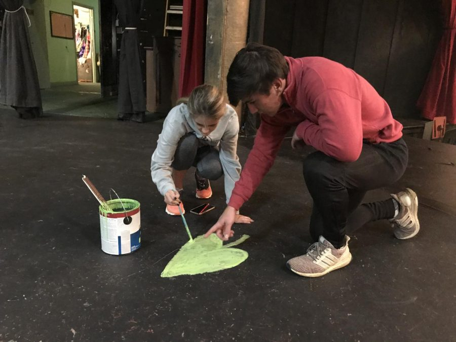 Evie Tharpe and James Michael Reeves paint a leaf at Macon Little Theatre.
