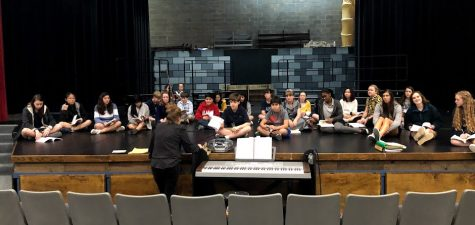 The ensemble cast of Young Frankenstein rehearses a song from the show.