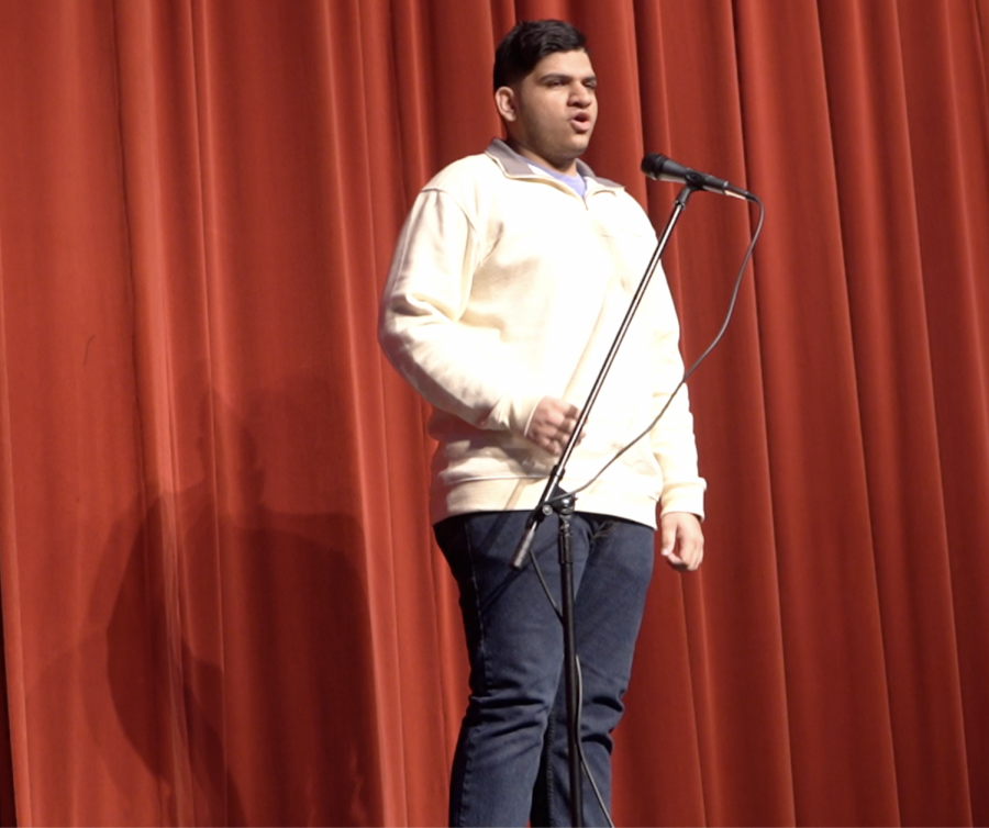 Senior Sean Malholtra won the 'Poetry Out Loud' competition on Jan. 23-24 in the Henry Tift FIne Arts Auditorium