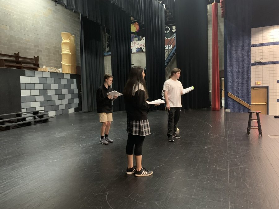 (L-R) Shaw London, Rania Akbar and Matt Newberry rehearse lines from upcoming play Young Frankenstein.
