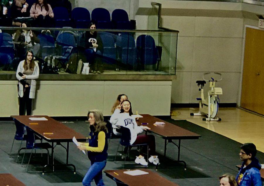 Jocelyn and Sophia Tang at a math tournament.