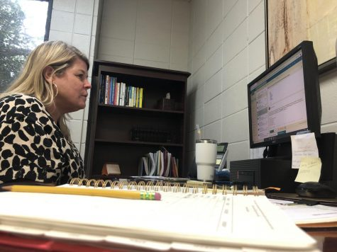 College counselor Mrs. Jackie Guy stays busy in her office