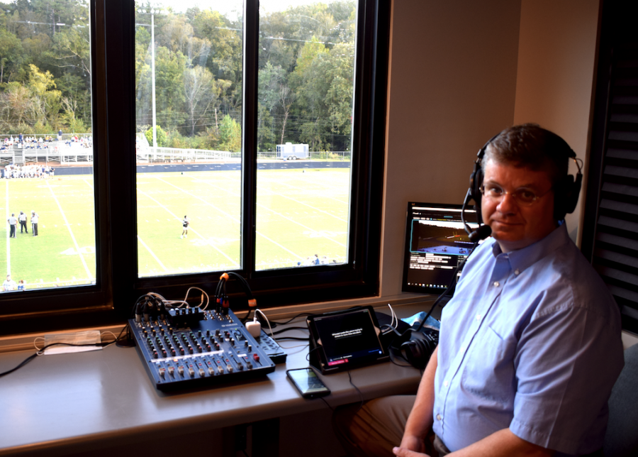 Mr. Tom McAfee with the new state-of-the-art equipment to live-stream games
